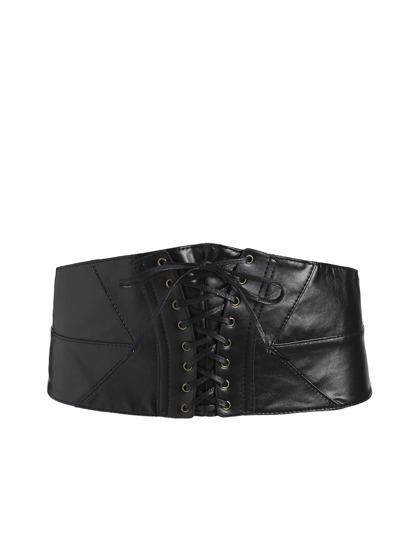 Cintura stile corsetto con laccetti - nero