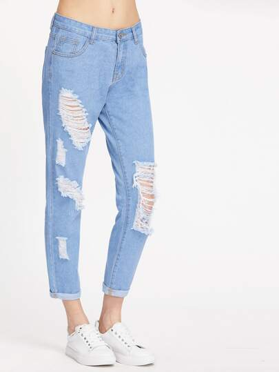 Washed Distress Jeans