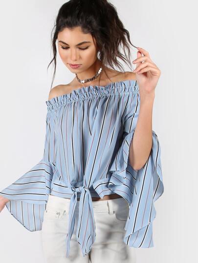 Off Shoulder Sleeve Tie Front Stripe Top BLUE