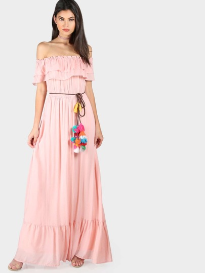 Frill Off Shoulder Tiered Hem Pom Pom Belt Dress