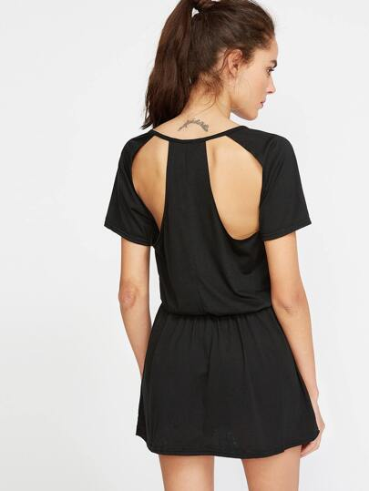 Black Cut Out Back Elastic Waist Dress