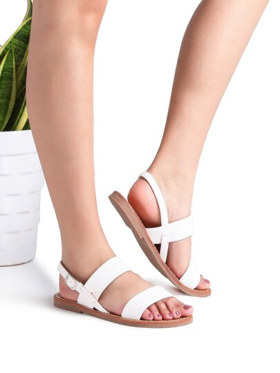 White Strappy Casual Flat Sandals