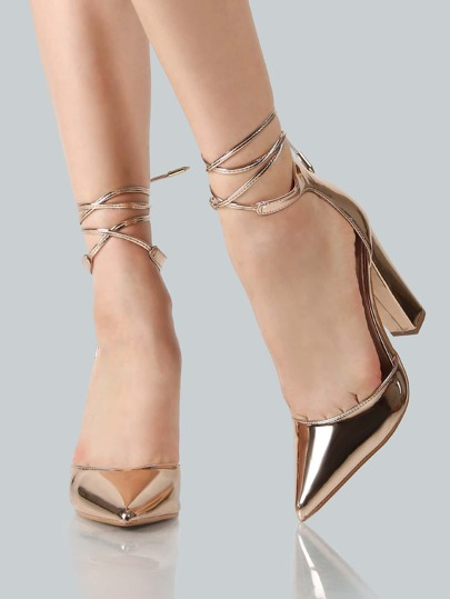 Metallic Point Toe Ankle Wrap Heels ROSE GOLD