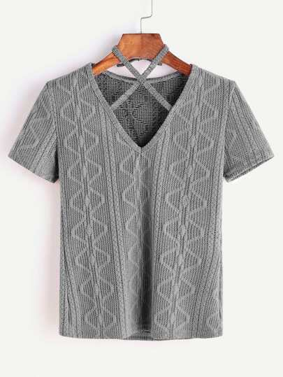 Grey Criss Cross Halter Neck Knitted T-shirt