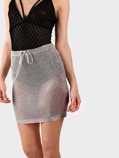 Metallic High Waisted Crochet Skirt BLUSH