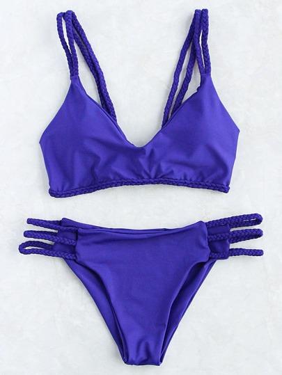 Intrecciato Blue Strap Ladder ritaglio Bikini