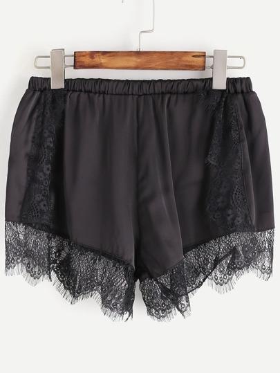 Shorts con encaje de pestaña - negro