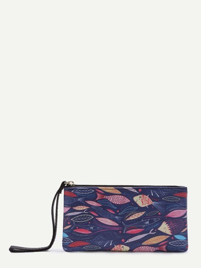 Purple Leaf Print PU Wallet