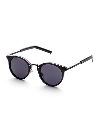 Black Frame Metal Arm Vintage Sunglasses