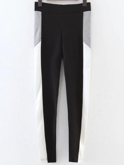 Pantalones con cintura elástica color block - negro