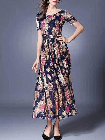 Navy Flowers Print Belted Maxi Dress