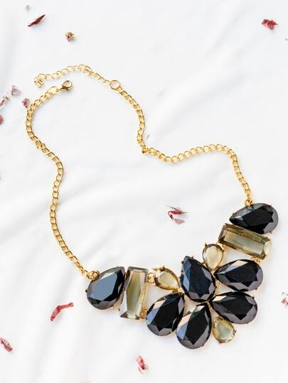 Black Rhinestone Design Statement Necklace