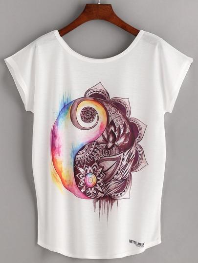 Ink Painting Print Dolman Sleeve T-shirt