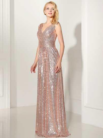 فستان إشبينة العروس أنيق طويل نسوي ظهر V - وردي ذهبي