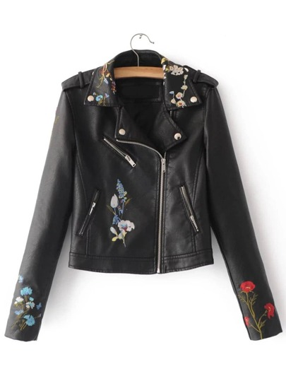 Black Embroidery Oblique Zipper PU Jacket