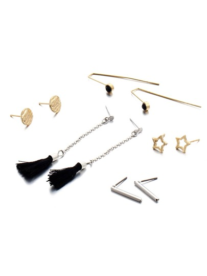 Star And Tassel Design Stud Earring Set