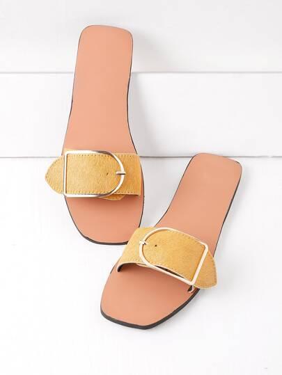 Buckle Detail Slide Sandals