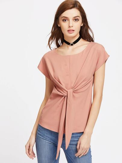 Self Tie Cap Sleeve Top