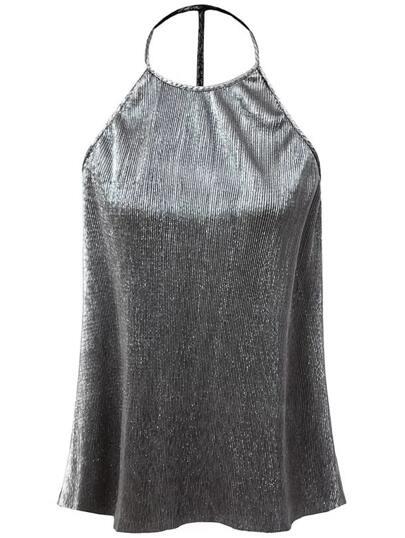 Silver Metal Halter Sleeveless Top