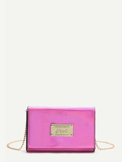 Hot Pink Metal Detail Crossbody Bag