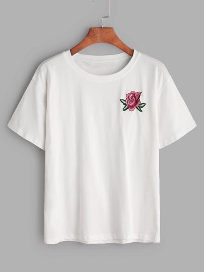 T-shirt con ricamo di fiore ,bianco