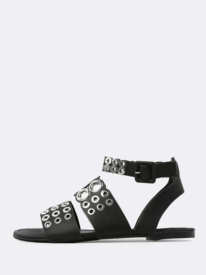 Double Band Grommet Sandals BLACK