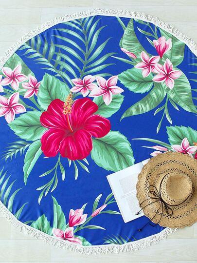 Sinensis Flower Print Fringe Detail Round Beach Blanket