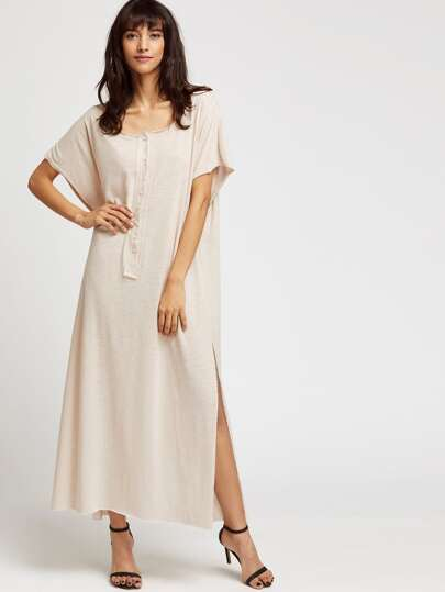 Beige Split Side Maxi Beach Dress With Buttons
