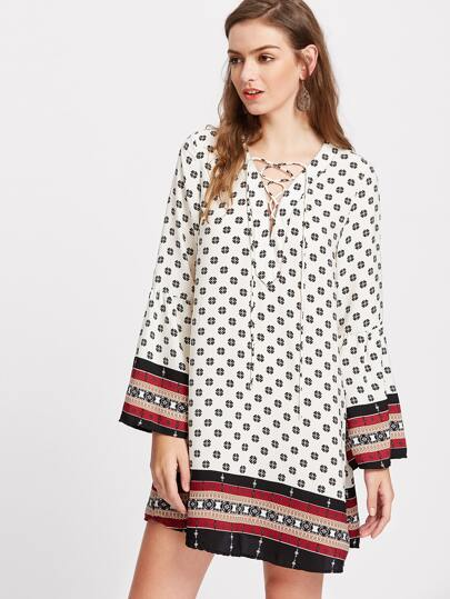 Ornate Print Lace Up Fluted Sleeve Tunic Dress