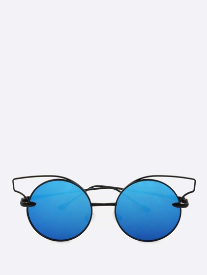Cat Eye Rim Circle Sunnies BLUE
