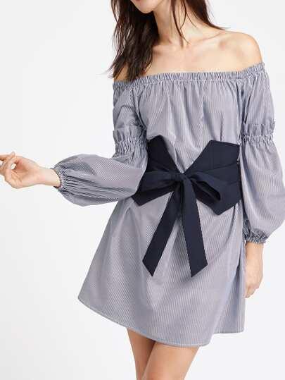 Off Shoulder Shirred Ruffle Detail Bishop Sleeve Belt Dress
