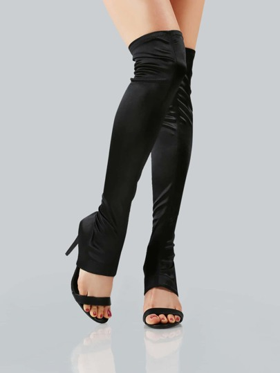 Open Toe Satin Over The Knee Boots BLACK