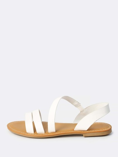 Wrap Over Double Strap Sandals WHITE