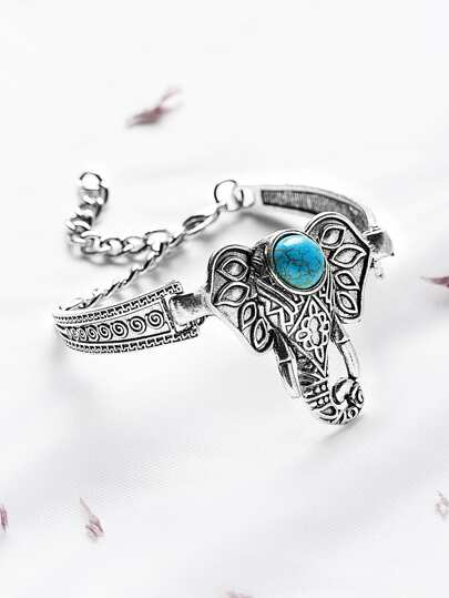 Antique Silver Turquoise Inlay Elephant Bangle