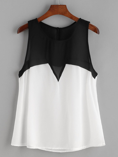 Color Block Sleeveless Chiffon Top