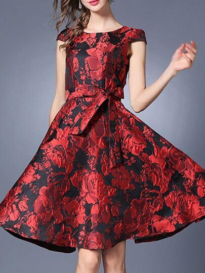 Burgundy Tie-Waist Jacquard A-Line Dress