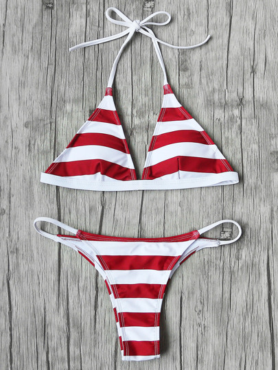 Striped Halter Neck Triangle Bikini Set