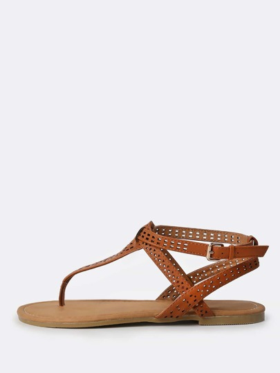 Faux Leather Geo Cut Sandals CHESTNUT