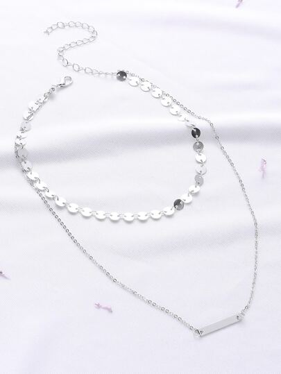 Collana con pendente Bar d'argento a doppio strato