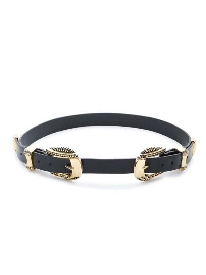 Cinturón con doble hebillas y ribete dorado