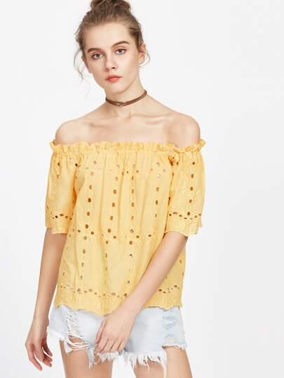 Top mit Rüschen bestickt Ösen - gelb