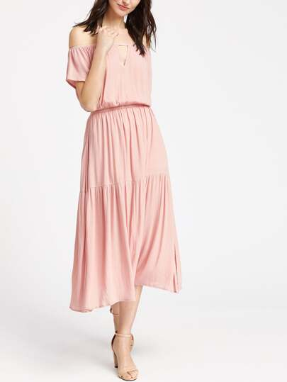 Off Shoulder V Cut Front Tiered Dress
