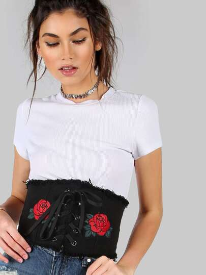 Denim Corset Belt with Rose Embroidery BLACK