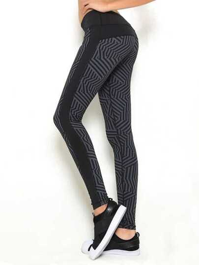 Abstract Stripe Print Gym Leggings