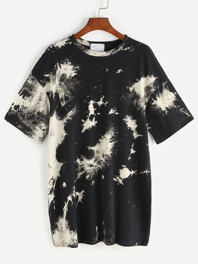 Vestido estilo camiseta con hombro caído de tinte espacial