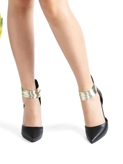 Zapatos pu punto con detalle de tobillo en contraste - negro