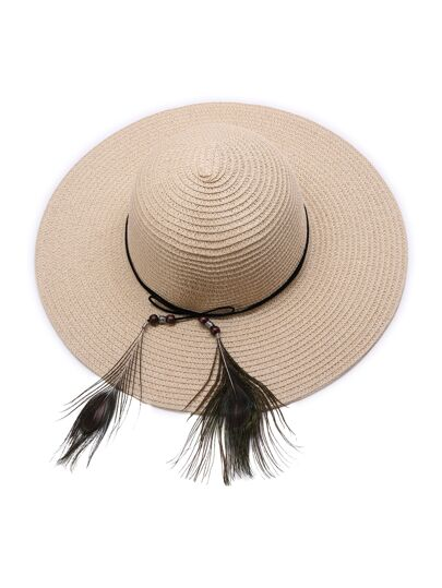 Camel Straw Hat With Feather Detail