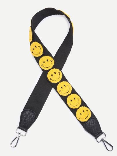 Correa de bolso con bordado de sonrisa - negro