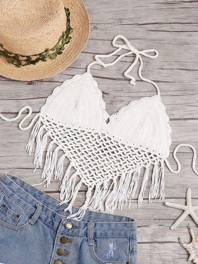 Knotted Fringe Trim Eyelet Crochet Halter Neck Top