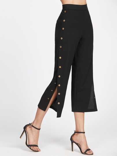Pantalones con botones de metal en la parte lateral - negro